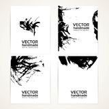 Black abstract brush texture hand drawing on banner Stock Images