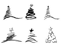 Black abstract Christmas tree Stock Images