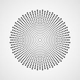 Black abstract circle with halftone dots effect. Vector illustration. Round icon with the use halftone dots texture Stock Illustration