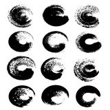 Black abstract circle textured strokes set Stock Images