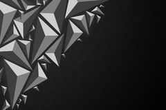 Black abstract 3d geometric triangular polygon style illustratio. N graphic background with copyspace Royalty Free Stock Photos