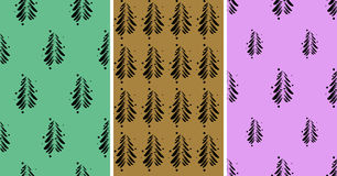 Black abstract firs on a color background set. Vector illustration Stock Photography