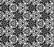 Black abstract flowers seamless pattern Stock Photo