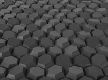 Black abstract geometric background with hexagons. 3D rendering Stock Photography