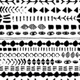 Black Abstract geometric seamless pattern Boho design. Ethnic print template for fabric, clothes, wrapping, covers.  Stock Photo