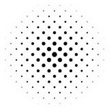 Black abstract halftone circle made of dots in diagonal rrangement on white background. Vector illustration stock illustration