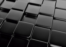 Black abstract image of cubes background. 3d render Royalty Free Stock Images