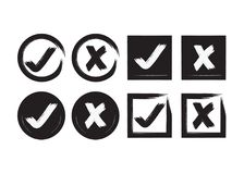 Black abstract inky circle and square check mark and crossed mark icons set. Black abstract inky circle and square check mark and crossed X mark boxes icons set royalty free illustration