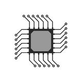 Black abstract microchip circuit icon Stock Photo