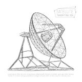 Black abstract polygonal satellite dish for space exploration. Vector illustration of radio antenna consisting of triangles, polygons, points and lines with stock illustration