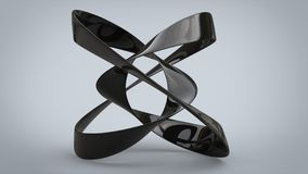 Black abstract ribbon sculpture. Isolated on gray background Stock Image