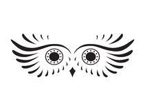 Black abstract silhouette of owl Royalty Free Stock Images