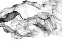 Black abstract smoke wave isolated on a white background Royalty Free Stock Image