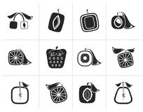 Black Abstract square fruit icons. Vector icon set Stock Images