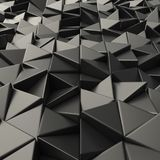 Black abstract triangles backdrop. Black 3d rendering geometric polygons, as tile wall. Metallic, Glossy Interior room Stock Photo
