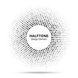 Black abstract vector circle frame halftone random dots logo emblem Royalty Free Stock Photo