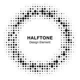 Black abstract vector circle frame halftone random dots logo emblem Stock Photography
