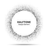 Black abstract vector circle frame halftone random dots logo emblem Stock Images