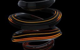 Black abstract wave spiral forms - orange light. Isolated on black background stock illustration