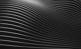 Black abstract wave wall texture. 3d rendering illustration of black abstract wave wall texture. Modern parametric architecture elements Stock Photo