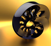 Black abstraction on the gold background Stock Photos