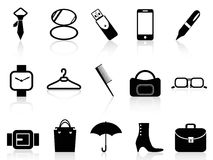 Black accessories icons set Royalty Free Stock Image