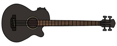 Black acoustic bass guitar Royalty Free Stock Image