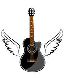 Black acoustic classic guitar Stock Photography