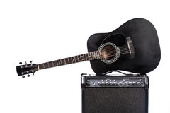 Black acoustic guitar. Isolated on white Stock Images
