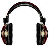 Black acoustic headphones on a blank background Royalty Free Stock Photo
