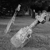 Black adn White Gravestones Falling Over Stock Photo