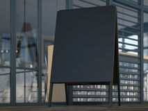 Black advertising stand near cafe. 3d rendering Stock Images