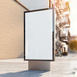 Black advertising stand on a street. 3d rendering Royalty Free Stock Images