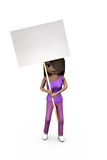 Black or African-American 3D Girl Holding Protest Stock Photo