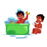 Black, African American baby taking bath, eating from milk bottle. Little black, African American baby taking foam bath and eating from milk bottle, cartoon stock illustration