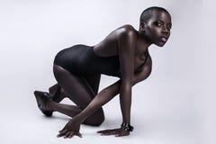 Black African American British fashion model portrait Stock Photo