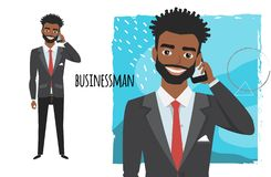 A black african american businessman is talking on the phone royalty free illustration