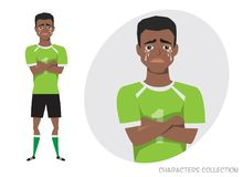 The black african american football player crossed his arms and cries. Mans tears and depression. The emotion of. Disappointment and sadness at the soccer Royalty Free Stock Photo