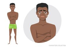 The black african american guy crossed his arms and cries. Royalty Free Stock Images