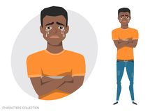 The black african american guy crossed his arms and cries. Mans tears and depression. The emotion of disappointment and sadness at the boys face. The male was Royalty Free Stock Photo