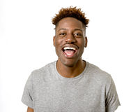 Black african american man laughing happy and excited isolated Stock Photo
