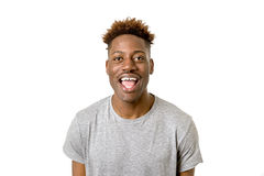Black african american man laughing happy and excited isolated Royalty Free Stock Image