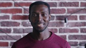 Black African American man smile face portrait. stock video