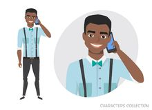 A black african american man is talking on the phone. Vector character in cartoon style Royalty Free Stock Photo