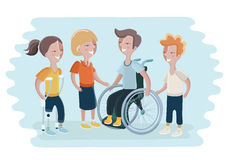 Black or African American Man and Woman in Wheelchair. Vector illustration of disabled people and them friends. Boy in wheelchair, girl with prosthetic leg Royalty Free Stock Images