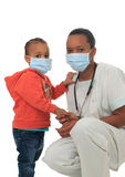 Black African American nurse with child isolated Stock Images