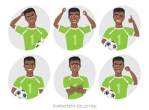 Black african american soccer player different postures, emotions set. Football character. Soccer player different postures, emotions set Royalty Free Stock Image