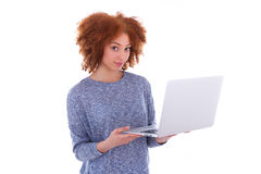Black African American student girl holding a laptop Royalty Free Stock Image