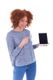 Black African American student girl holding a tactile tablet and Stock Image