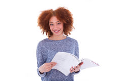 Black African American student girl reading a book Stock Photo